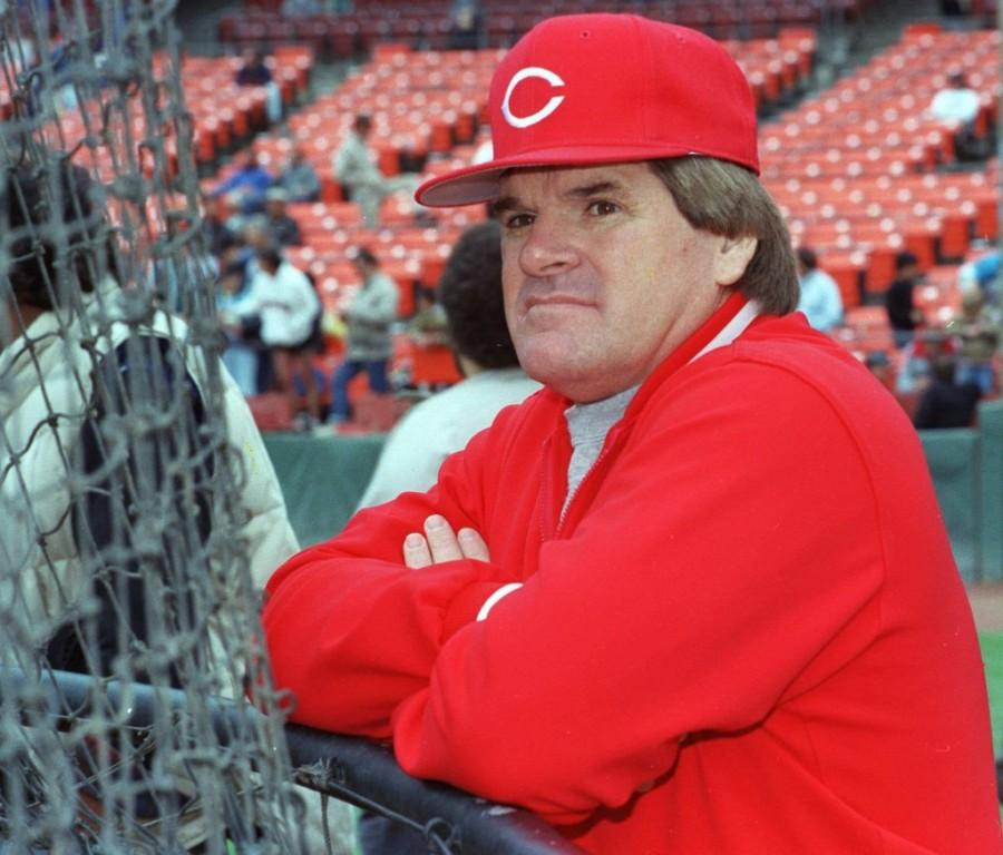 Cincinatti+Reds+manager+Pete+Rose+sits+in+the+dugout+as+he+contemplates+his+betting+scandal.++Rose+initially+denied+that+he+ever+bet+against+his+own+team%2C+but+it+was+later+found+that+he+did+place+wagers+against+the+Reds+while+he+was+the+team%E2%80%99s+manager+in+the+1980s.