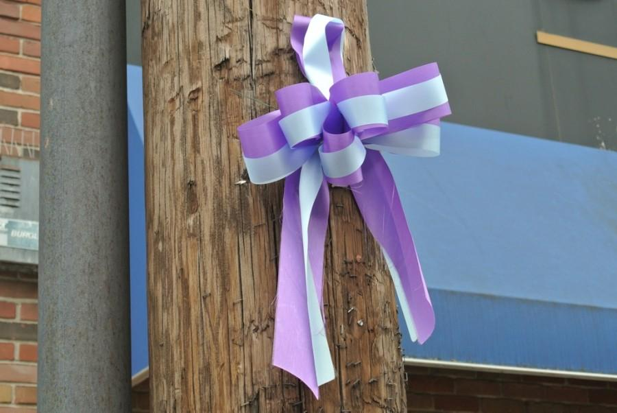 Blue+and+purple+ribbons+donated+by+S.F.+Falconer+were+hung+along+Main+Street+by+friends%2C+family%2C+and+community+members+in+Sydney%E2%80%99s+honor.+%0D%0A