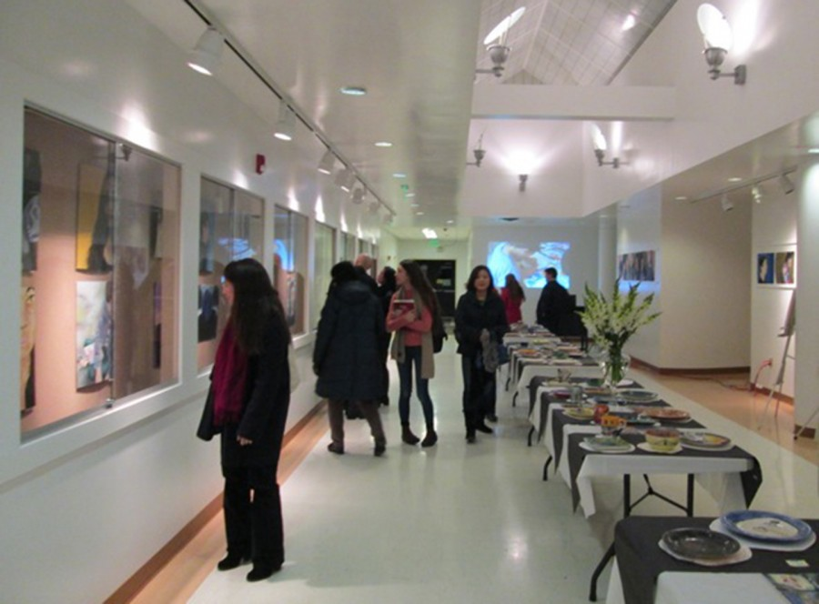 Painted selfies and ceramic plates find a home in the atrium