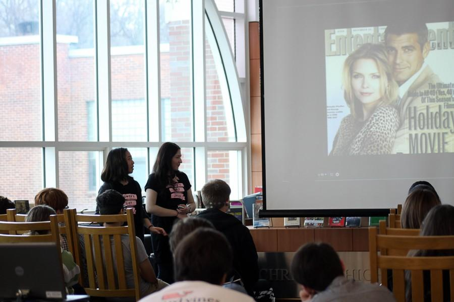 Combined Poetry Cafe and Women's Day celebrations: students read poetry and give presentations to fellow classmates