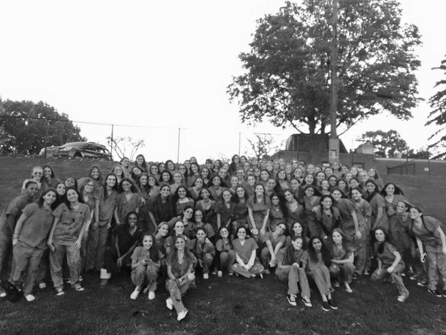 The+juniors+girls+of+2015-16+gathered+early+Halloween+morning+at+the+turf+to+take+a+picture+in+their+grade-wide+Halloween+costume.+The+class+of+2017+dressed+up+as+zombie+doctors+and+got+a+fright+out+of+all+the+Schreiber+students.