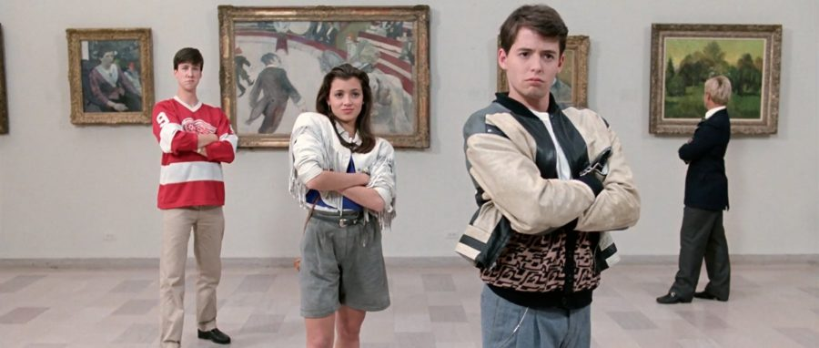 Titular+character+Ferris+Bueller%2C+far+right%2C+is+joined+by+his+girlfriend+Sloane%2C+center%2C+and+his+friend+Cameron%2C+far+left%2C+on+a+crazy+adventure+through+the+city+of+Chicago.