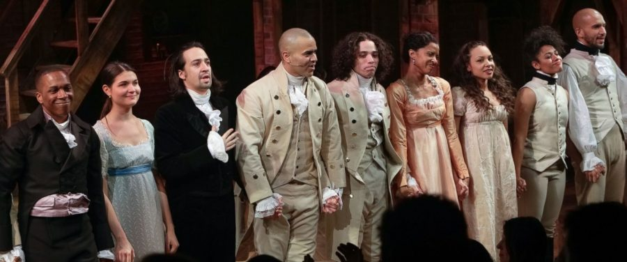 The+cast+of+Hamilton+at+the+curtain+call%2C+as+fans+applaude+for+their+marvelous+performance.+Lin-Manuel+Miranda%2C+who+stands+third+from+the+left%2C+is+not+only+the+playwright+of+the+musical+but+also+originally+played+Hamilton.