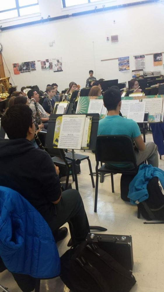 The concert band practices