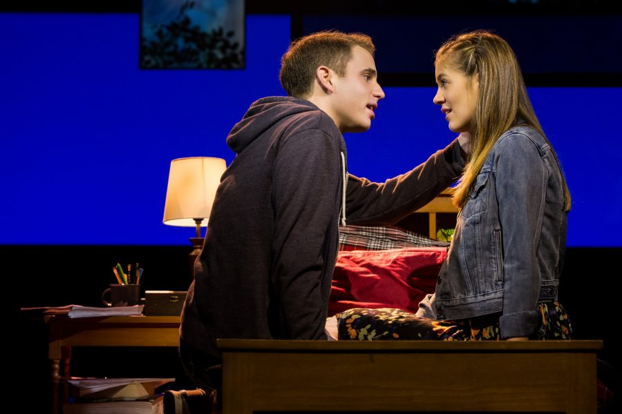 Ben Platt, as Evan Hansen, and Laura Dreyfuss, as Zoe Murphy, share a romantic moment on stage in this critically acclaimed hit musical. The show uses music to touch upon very serious topics such as anxiety, depression, and suicide.