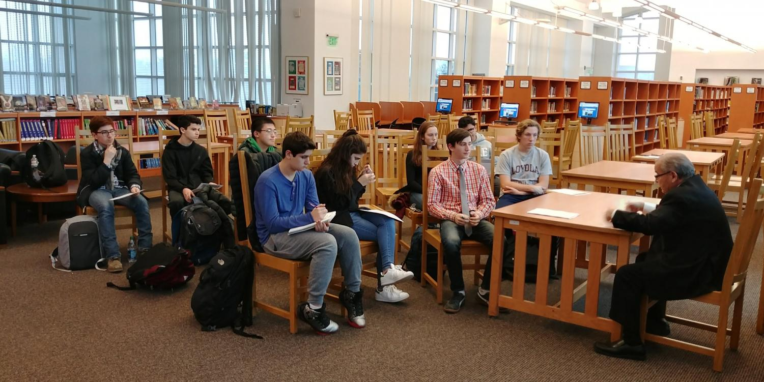State Assemblyman Anthony D'Urso speaks to a group of students in the library about his life story as a politician. D'Urso interacted with the students in a question-and-answer session after school on Dec. 12.
