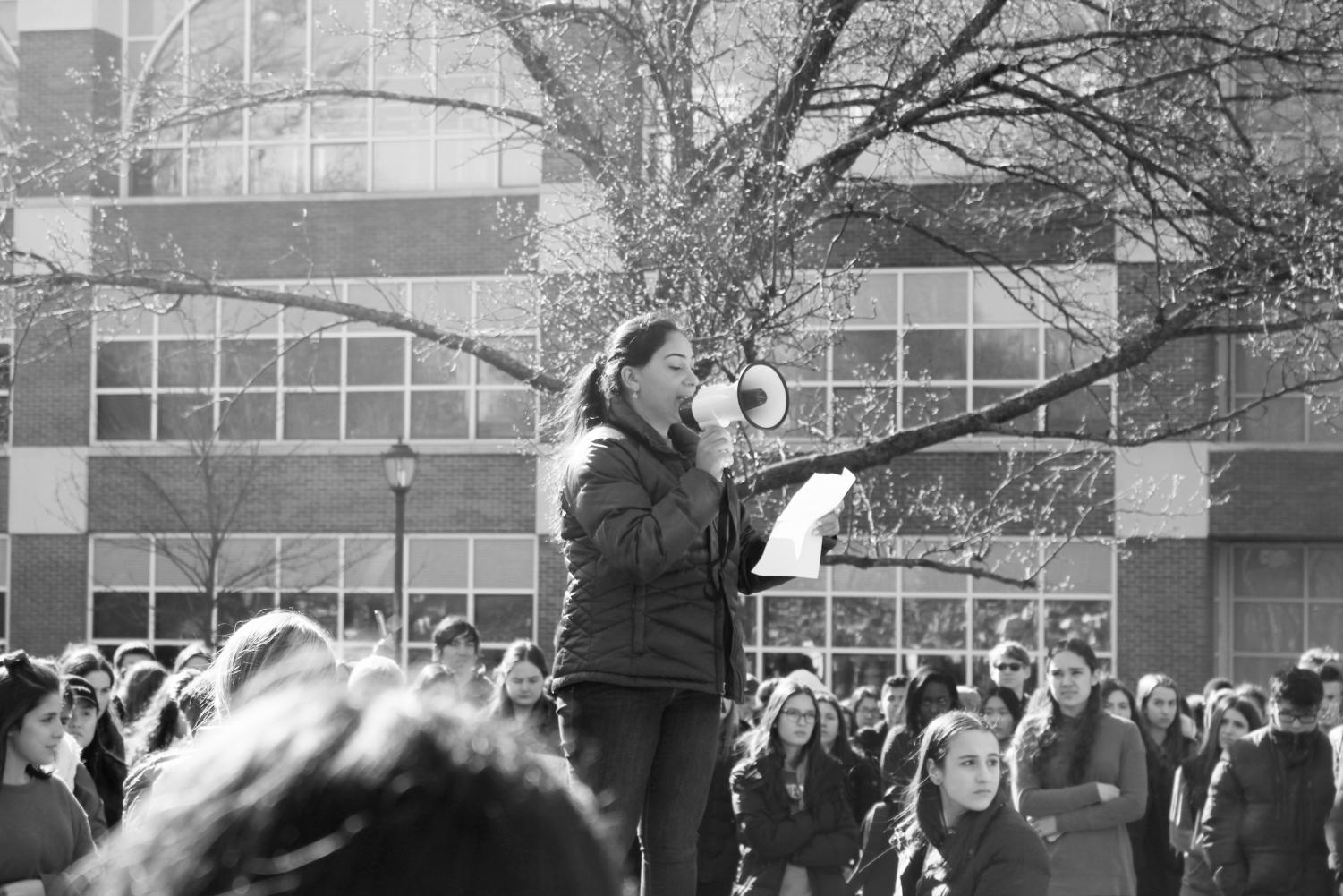 On March 14, students left their classrooms to participate in the nationwide walkout. Pictured above is Eve Harari, reading the names of the Parkland victims.