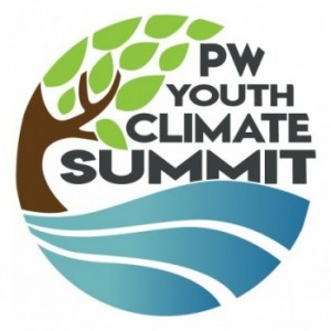The logo for the PW Youth Summit stresses the importance of being environmentally friendly.