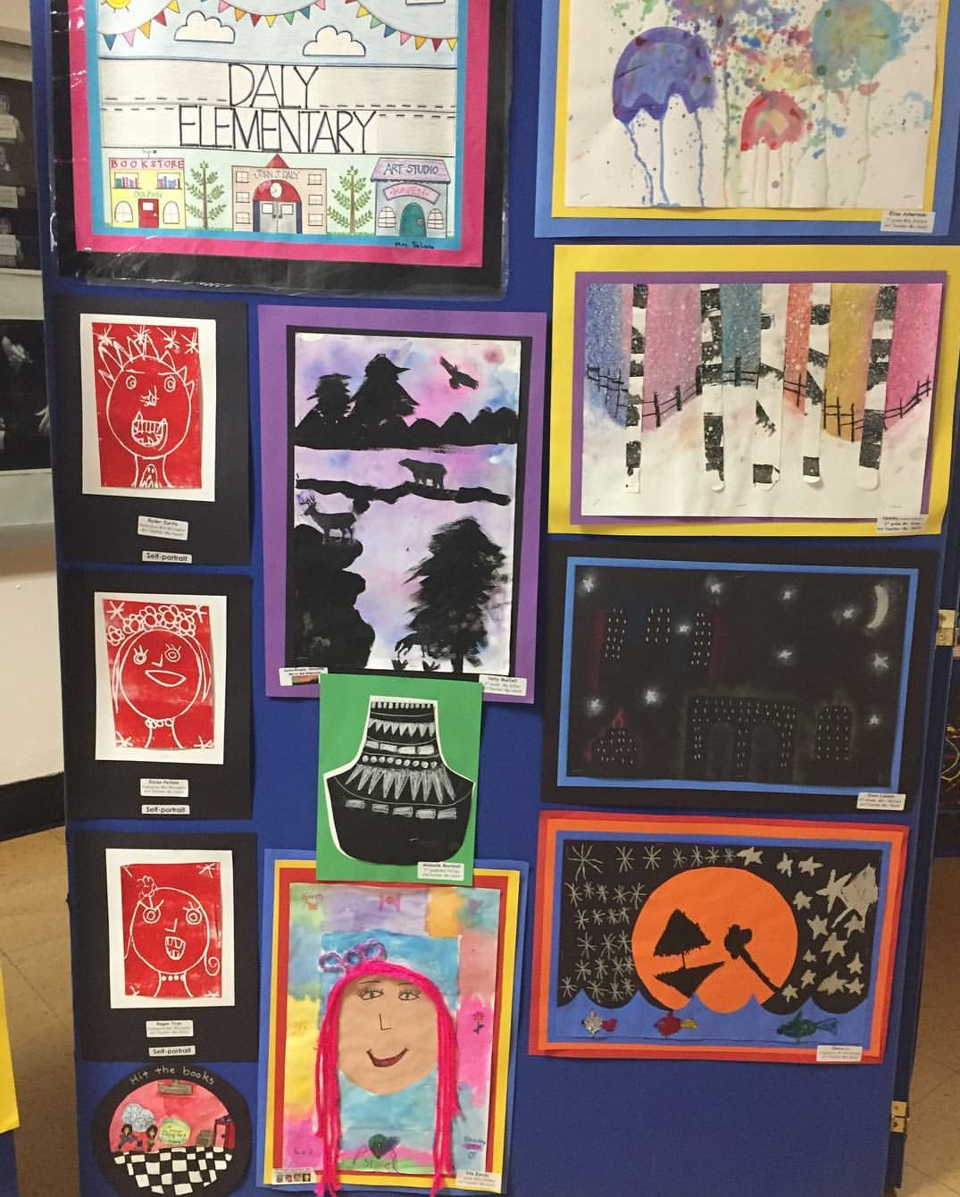 Artwork by students from Daly Elementary School is presented at PortFest. Due to the rain, this year's PortFest celebration took place indoors at Schreiber.
