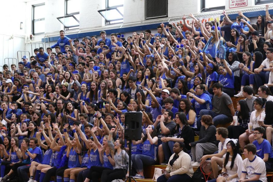 The+seniors+celebrate+their+win+at+the+Pep+Rally.+The+Pep+Rally+took+place+after+sixth+period+on+April+13+in+the+gymnasium.+