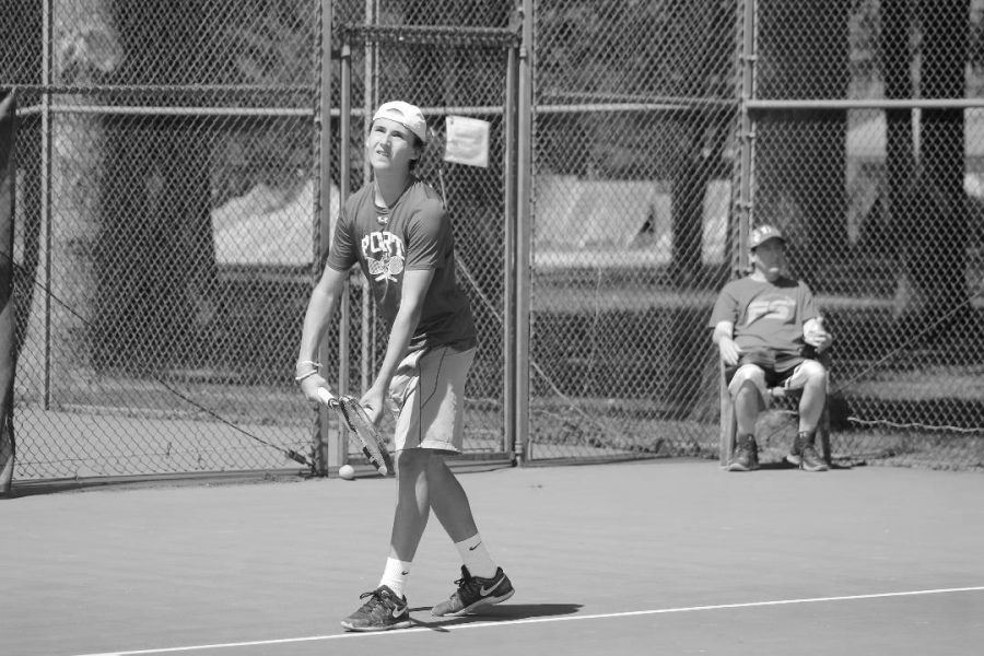 Freshman+Gabriele+Brancatelli+serves+in+an+away+match+against+Plainview-JFK+on+March+27.+Port+lost+with+a+score+of+2-5