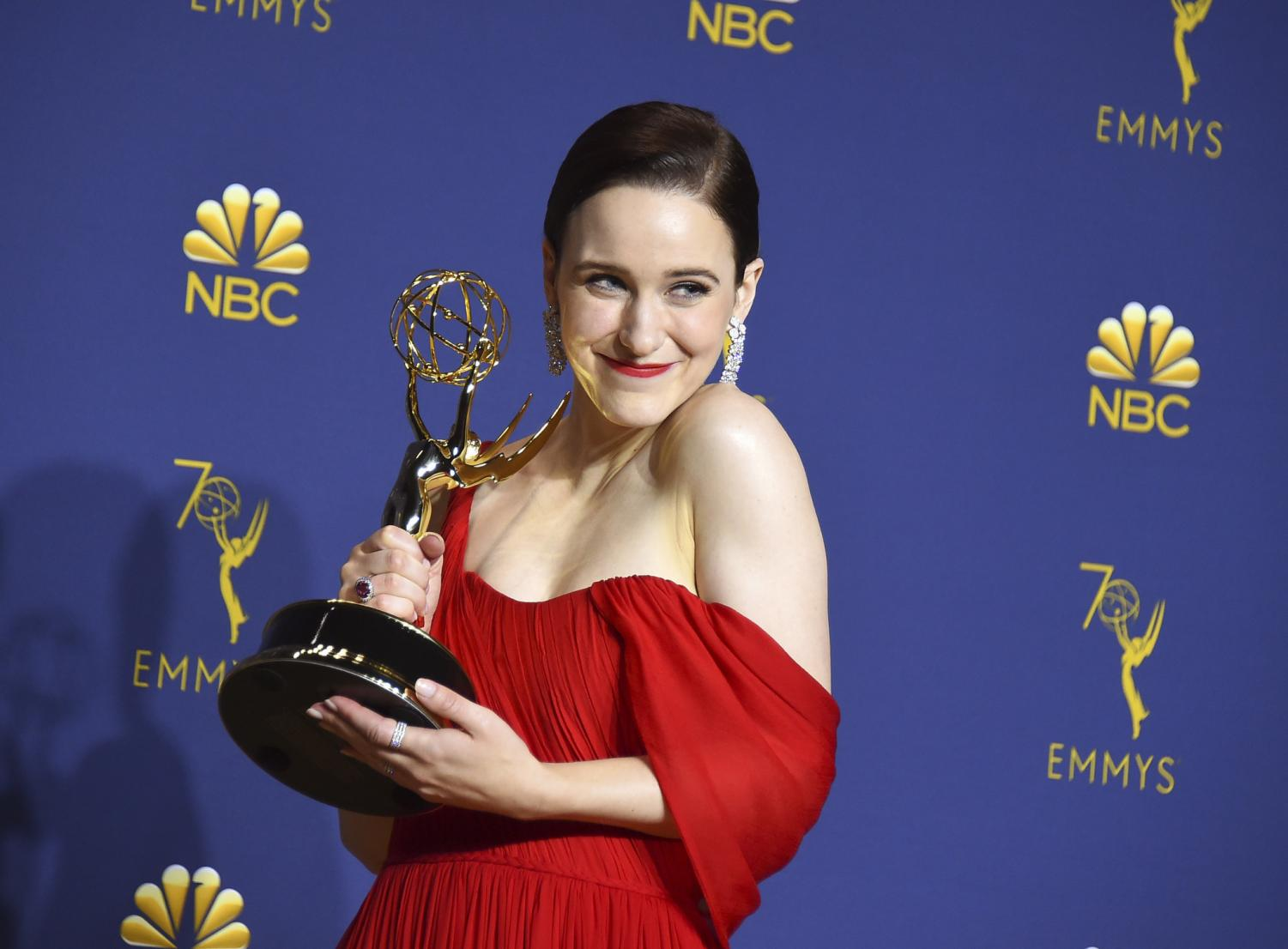 Rachel Brosnahan, star of The Marvelous Mrs. Maisel, poses with her award for Outstanding Lead Actress. This is on of the many awards The Marvelous Mrs. Maisel received at the 70th Annual Primetime Emmy Awards.