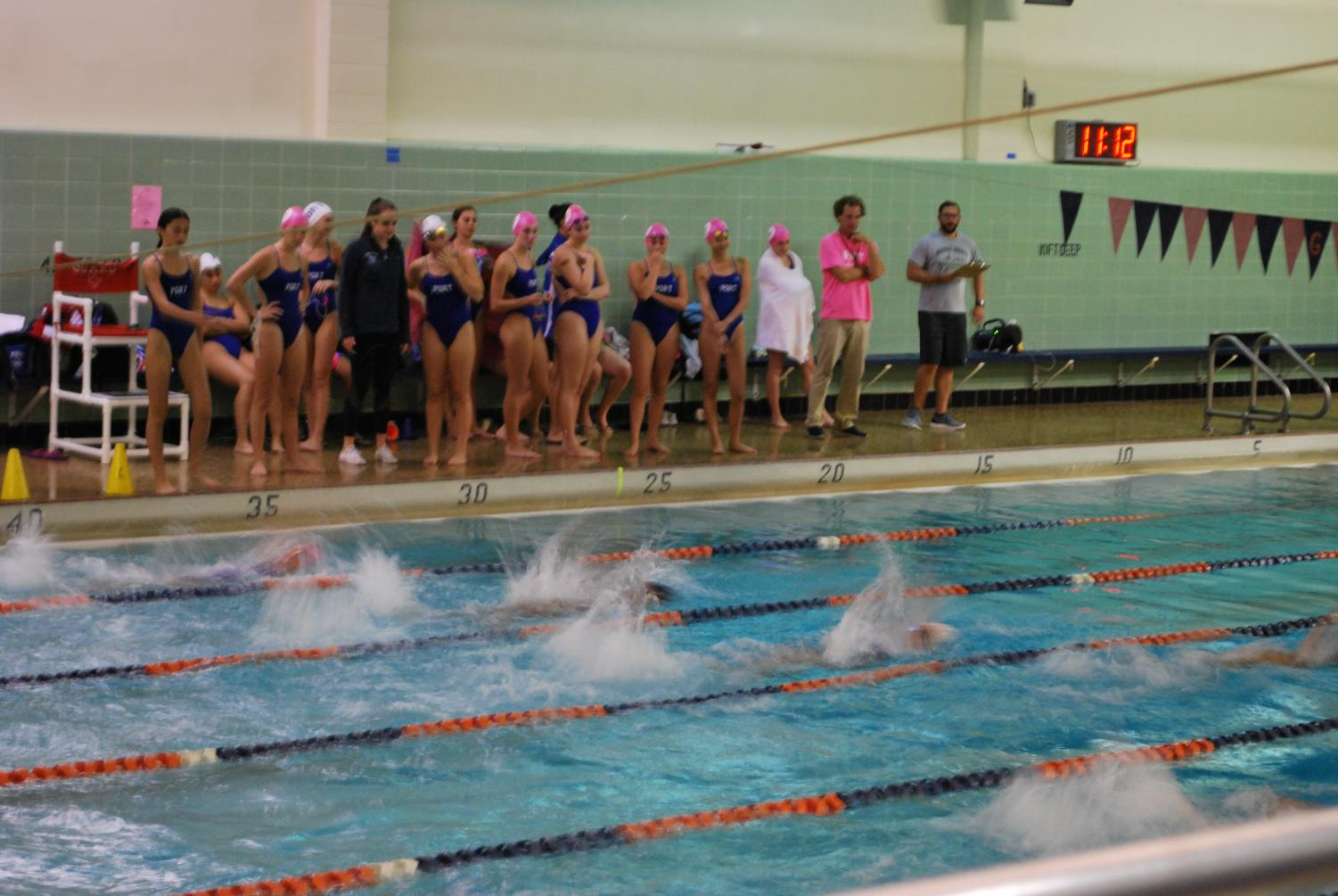 Girls swimming competes against Great Neck South at an away meet on Sept. 28. The girls won with a final score of 95-91.