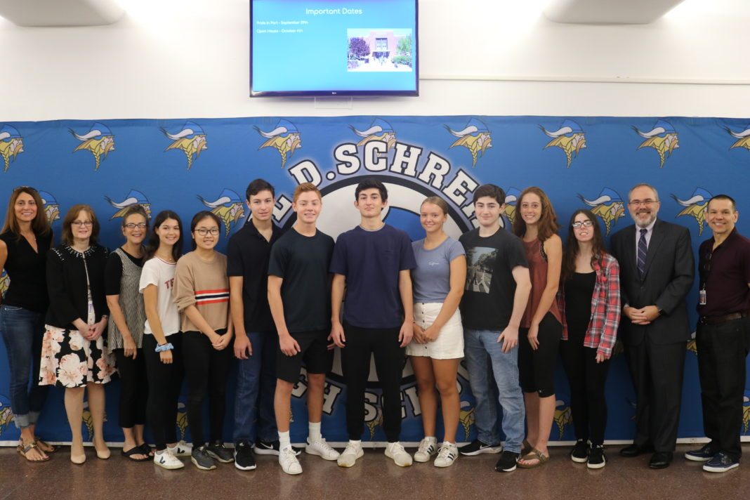This year's National Merit semifinalists include (left to right) Leah Taylor, Becky Han, Benjamin Rosenberg, Ryan Siegel, Eddie Samowitz, Olivia Hansen, Jacob Keller, Jolie Bercow, and Emily Doherty.