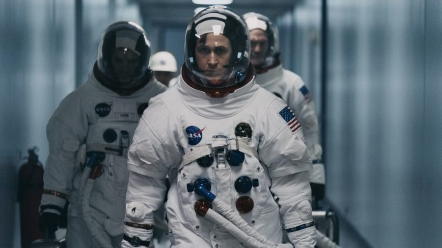 Ryan Gosling takes the first steps on the moon in the new movie First Man