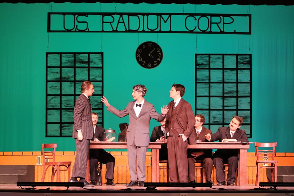 Seniors Max Welsh, Matt DeMarino, and sophomore Ryan Joslyn played businessmen named Lee, Roeder, and Knef who were uncharge of the US Radium Corporation.