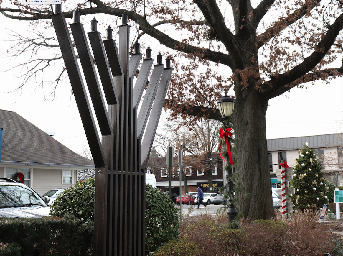 Residents flock to the live-sized menorah lighting located at the Port Washington train station.