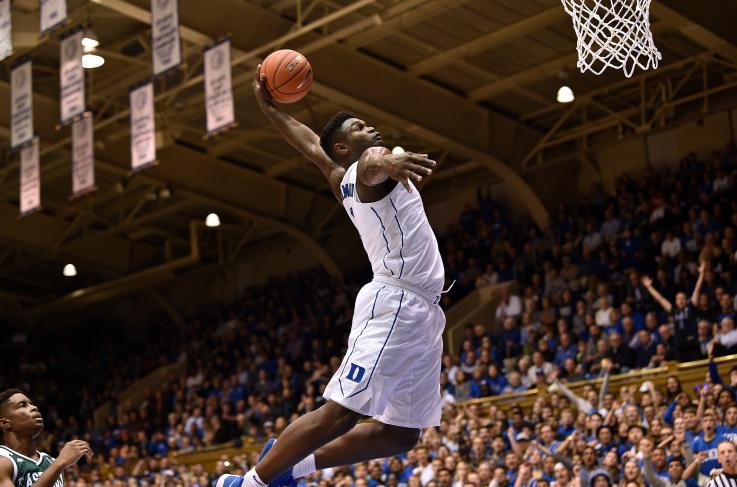 Zion+Williamson+goes+up+for+a+dunk+against+Eastern+Michigan.+The+Blue+Devils+won+the+game+84-46.