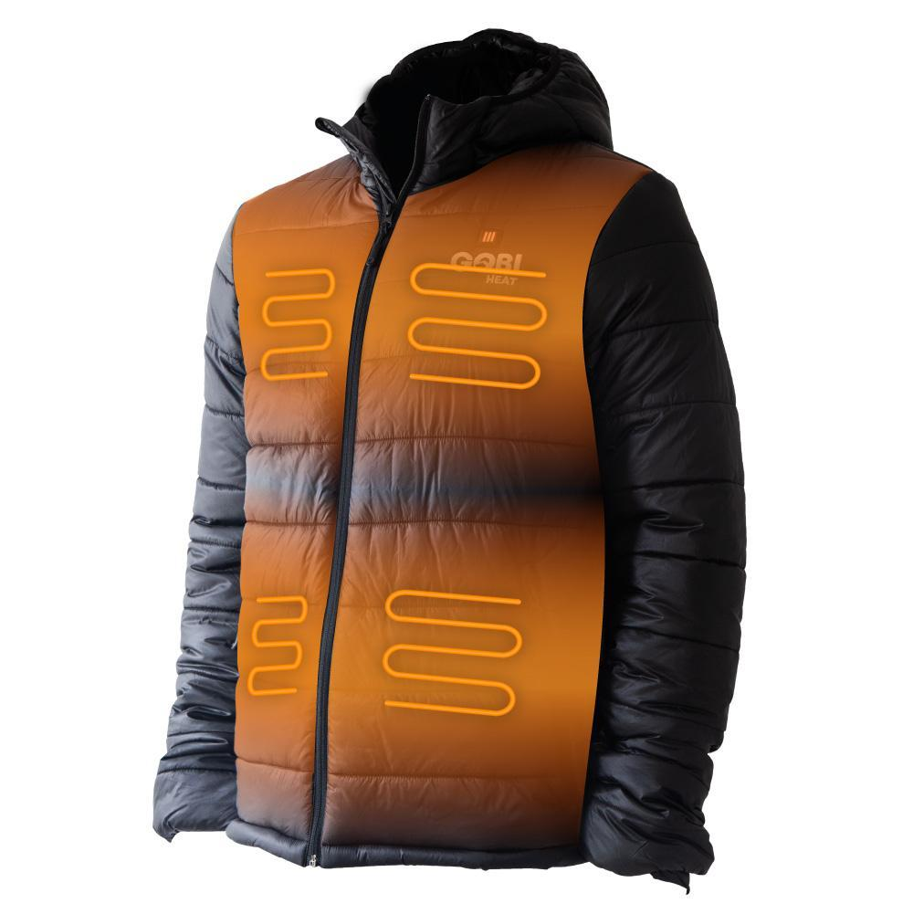 The Gobi Heat Men's Shift 5 Zone Jacket and Gobi Heat Women's Dune Heated  Vest both exemplify the perfect balance between appealing to fashion trends and achieving warmth. The heat from these jackets radiates from the chest, with the built-in heater displayed above.