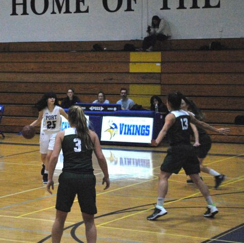 Junior Sophie Gindi advances the ball up the court in a home game against Locust Valley. The girls lost that game by a score of 38-52.