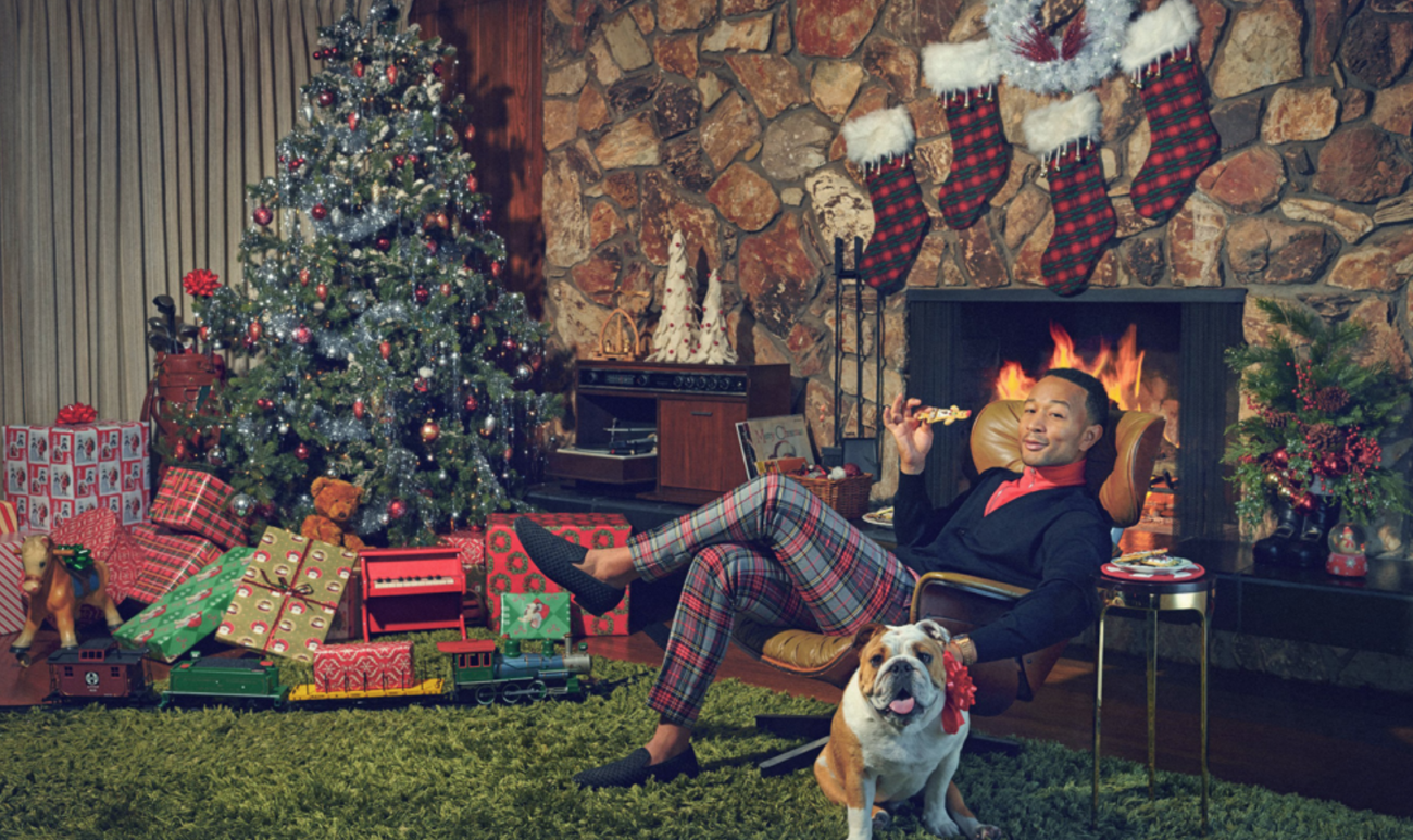 Legend released a photoshoot featuring his dog to promote his new Christmas album.