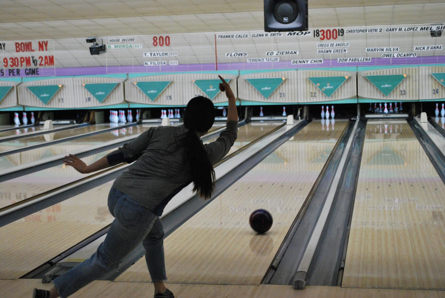 Senior Sarah Chung goes for a spare in practice at Herrill Lanes on Jan. 9. They prepare for their final match on Jan. 14 against Great Neck South.
