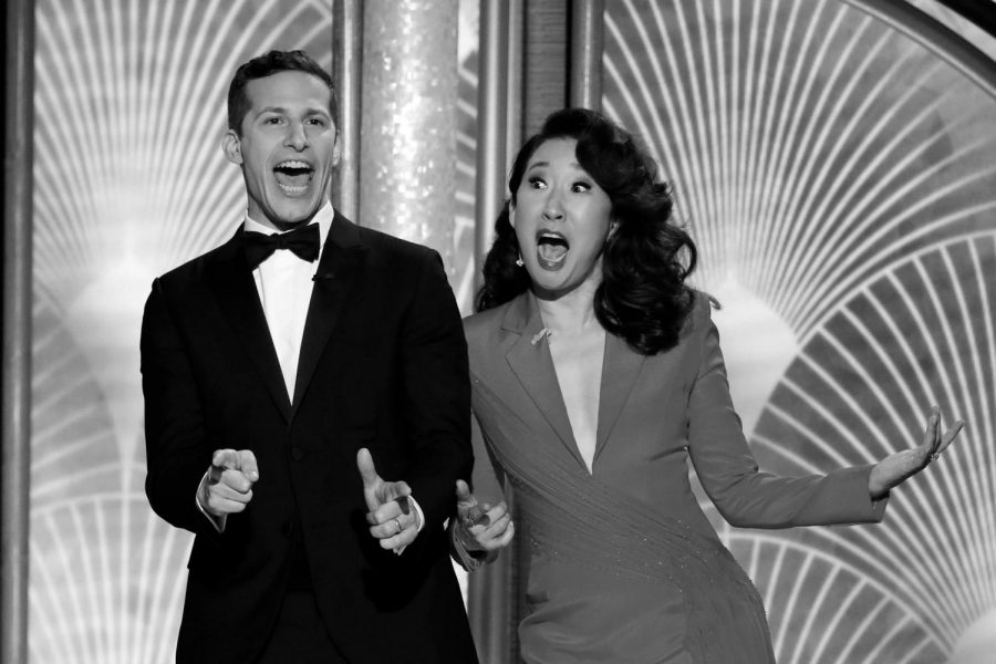 Andy+Samberg+and+Sandra+Oh+lit+up+the+stage+and+kept+the+audience+laughing+throughout+the+Golden+Globes.