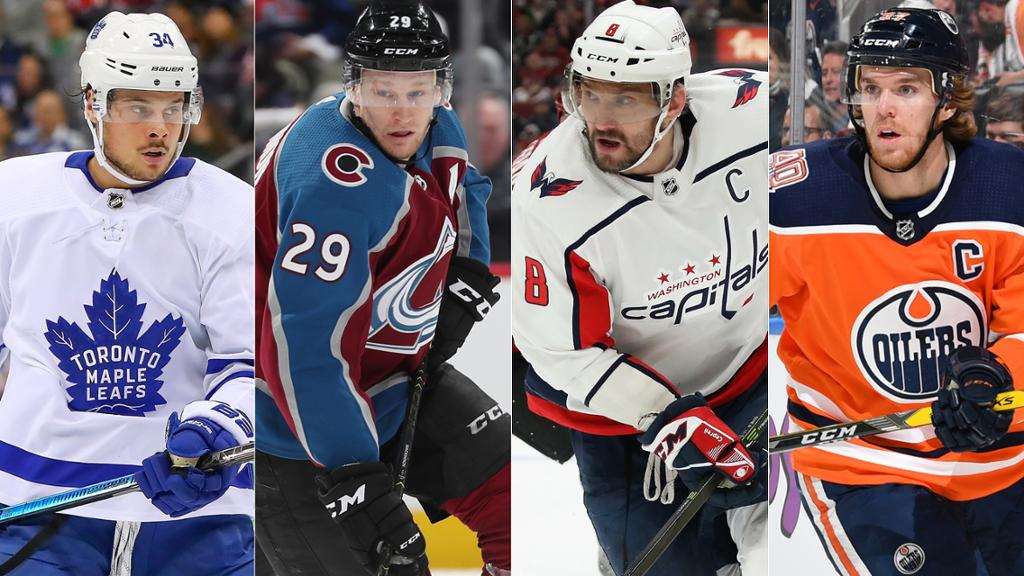 Center Austin Mathews, center Nathan MacKinnon, left wing Alex Ovechkin and center Connor McDavid, were chosen as captains to represent each division.