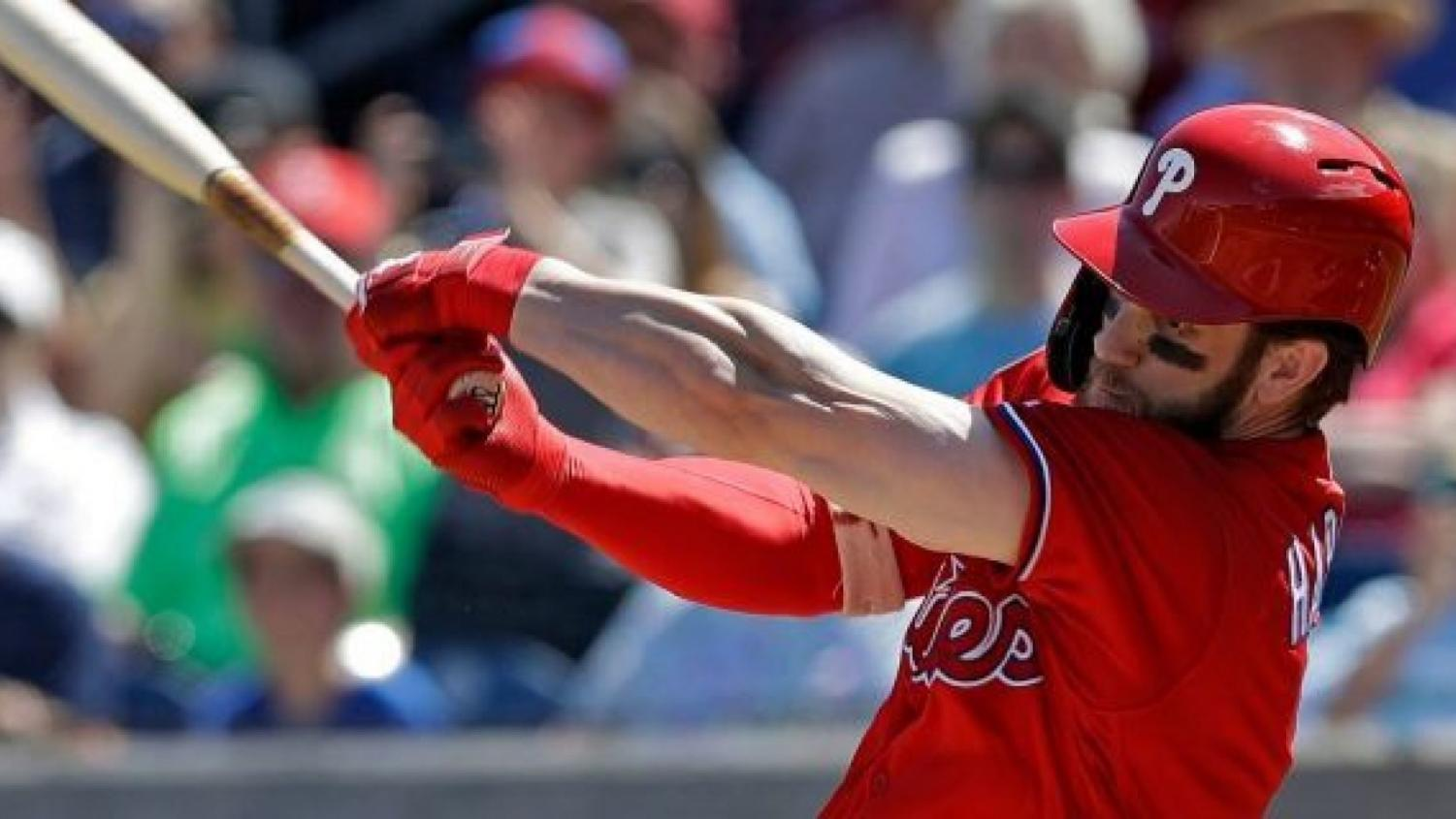 Bryce Harper makes his first official hit as a player on the Philadelphia Phillies after spring training.