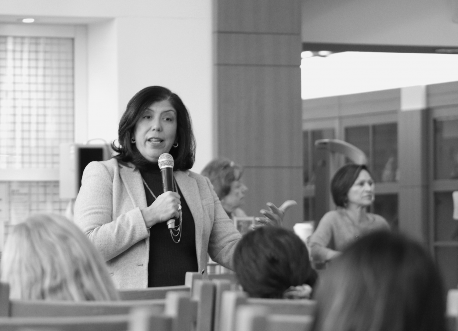 District Attorney Madeline Singas talked to Schreiber students in the library on Feb. 27. There, she discussed her path to becoming a politician and what her career means to her today.