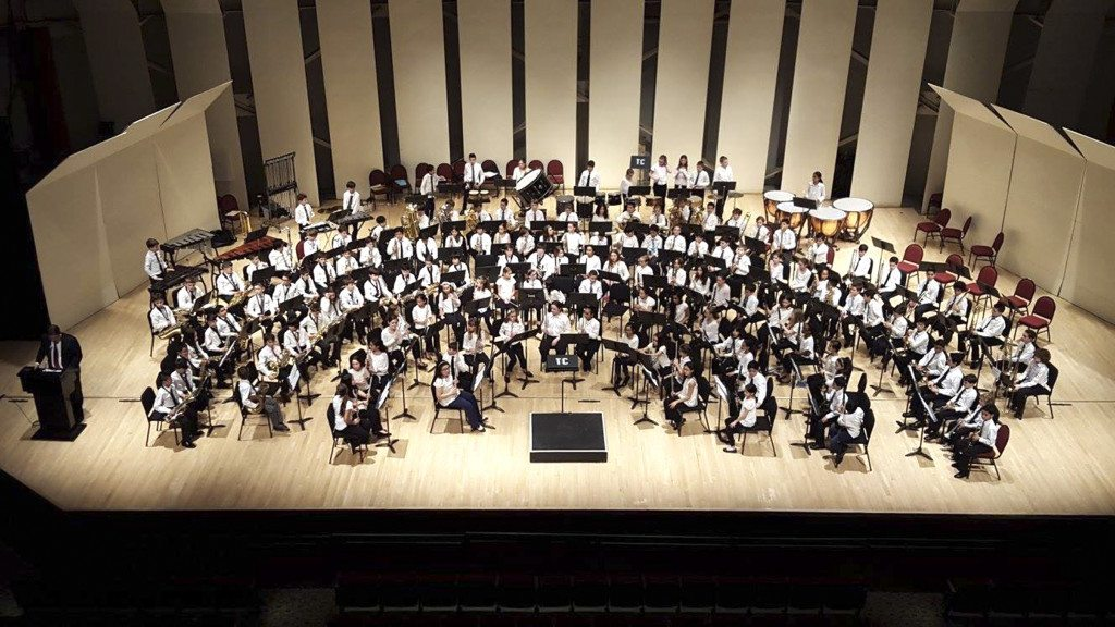 Schreiber musicians participate in the District Band Spectacular at the Tilles Center on March 19.