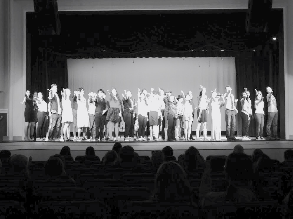 Schreiber Drama Club and Young Playwrights participants take final bows on stage at the closing of the student-led Young Playwrights Festival.