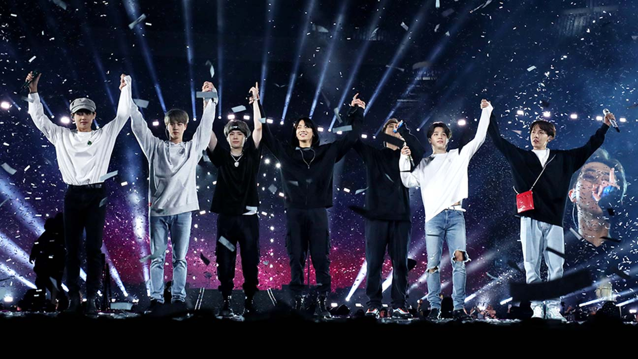 BTS prepares to bow to the audience after the encore performances at MetLife Stadium in East Rutherford, New Jersey on May 18.