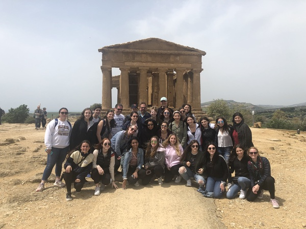 The foreign language Sicily trip students explore the ancient ruins of The Valley of the Temples in the city of Agrigento.