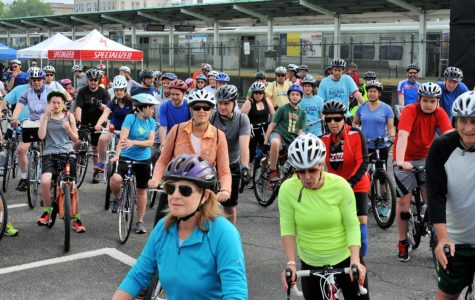 Port Washington residents gear up for the annual bike tour at the Port Washington train station.  All proceeds were donated to the Lauri Strauss Foundation.