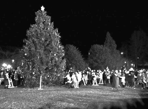 Citizens gather around the Christmas tree in celebration of the holiday season.