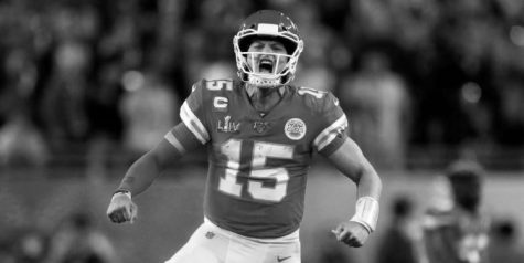 Patrick Mahomes celebrates during Super Bowl LIV in which he led the Chiefs to a historical victory.