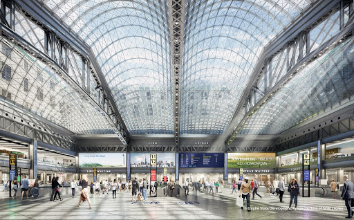 New Penn Station at Moynihan Train Hall with Highline Extension